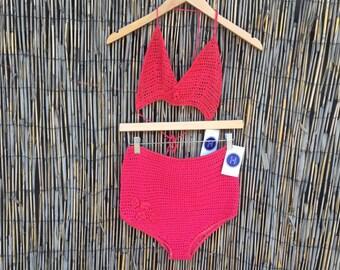 VINTAGE 1970's Cranberry Crochet Bikini Swim Suit