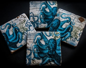 Nautical illustration coaster set. **Ask for free gift wrapping and have them sent directly to the recipient!**
