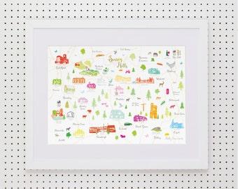 Map of Surrey Hills Art Print