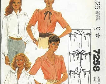 ON SALE McCall's 7258 1980s Misses Blouse Pattern, Neck and Sleeve Variations, Sizes 8 & 16 UNCUT