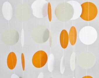 Orange, White, and Grey, 10 ft Garland- Fox Baby Shower, Party Decorations, Birthday, Wedding, Bridal Shower, Baby Shower