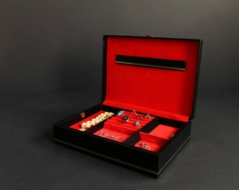 Vintage Jewelry Box by Buxton Black Leatherette with Gold Trim and Red Velvet Interior with Removable Tray Made In USA