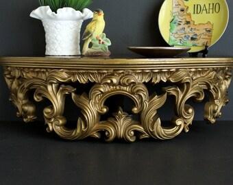 Vintage Gold Gilded Wall Shelf by Turner Accessories Hollywood Regency Large Retro Wall Decor Similiar to Syroco Dart Burwood