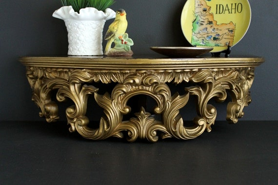 Vintage Gold Gilded Wall Shelf By Turner Accessories Hollywood