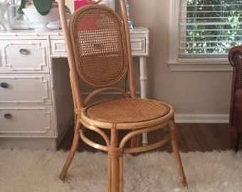 Vintage Chair Thonet Bentwood Rattan Cane Bohemian Natural Seating Desk Chair Dining Chair Mid Century Retro Chinoiserie Furnishing