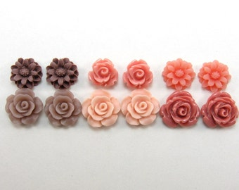 12 pcs Resin Flower Cabochons Assorted Sizes Mix - Small Flowers - Rosewood Colors