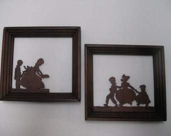 Vintage Pair of Wood Silhouettes, Hand Cut Silhouettes