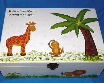 Hand Painted Baby Boy's Keepsake BOX Decorative Wood Personalized Memory Box Baby Jungle