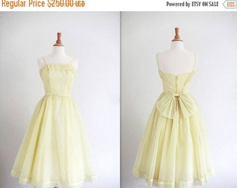 LOVERS DAY SALE Vintage 1950's 50s Lemon Yellow Prom Party Dress Full Skirt Bow Swiss Dot Small