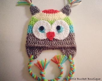 Crochet Pattern // Rainbow Owl Hat // Digital Download // Easy // Tutorial