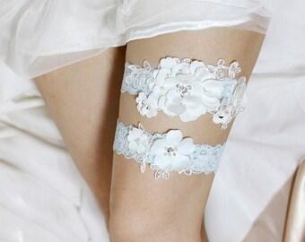 Wedding Garter set, Bridal Garter set, Satin Garter set, Lace Garter set, Blue garter set, Wedding garter belt