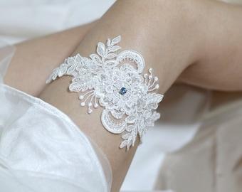 Bridal lace garter, something blue garter, white lace garter, keepsake garter, toss garter, wedding garter, bridal lace lingerie