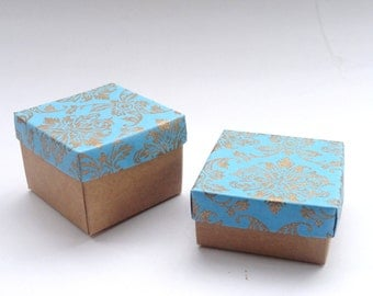 10 turquoisebox in damask print with kraft base in size 2x2x1.5 inches, gift boxes, packaging boxes, ring box, packaging supply