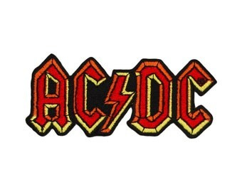 "AC/DC ""ACDC"" Band Name Logo Patch Hard Blues Rock Music Apparel Iron-On Applique"