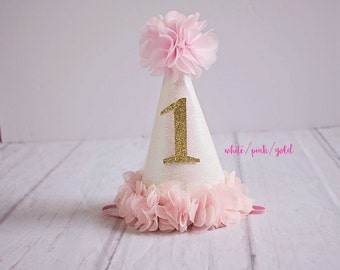 Girl Birthday Hat..1st Birthday Hat...First Birthday Hat..Baby Girl 1st Birthday.Pink Gold White Birthday..Silver Birthday..2nd Birthday hat