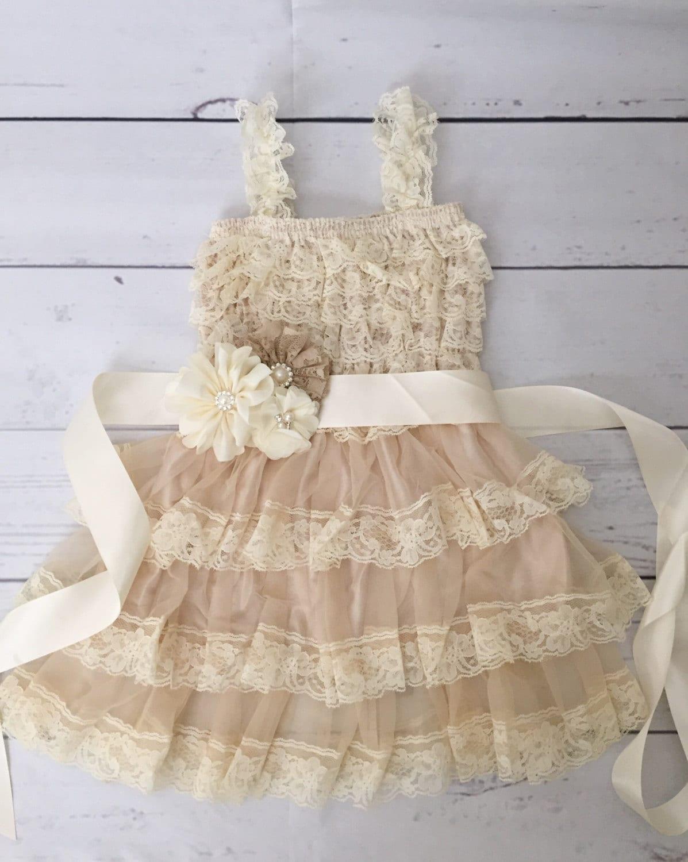 Lace flower girl dress rustic flower girl dress baby girl