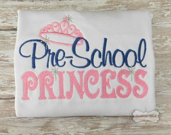 Pre-School Princess Embroidered Shirt or Bodysuit in Pink & Navy