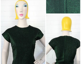 Vintage 1960s Mad Men Green Lurex Blouse L/XL/Volup