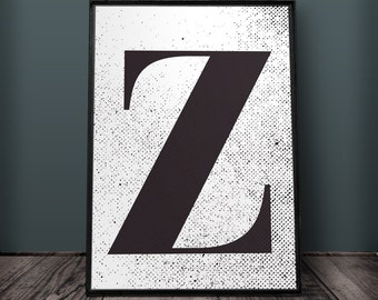 Letter Z Print, Letter Wall Art, Letter Wall Decor, Printable Letters, Large Letter Print, Typography Print