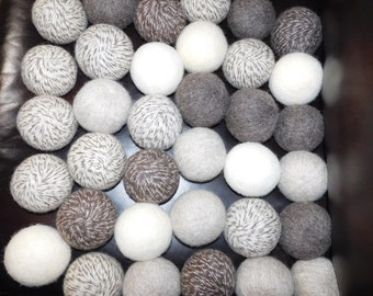 """Stocking Stuffers/Gifts:  BIG Set 30 Count Beautiful Natural Softer Quieter Felted 100%  Wool Dryer Balls Average 9"""" Circumference"""