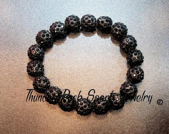 Black Shamballa Beads Bracelet Stretch Pave Sparkly Beaded Disco Ball Bling Crystals