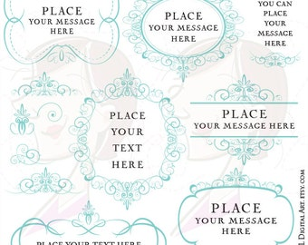 Teal Swirls Borders Turquoise Digital Frame Clip Art Decorative Ornamental Elegant Border Design Elements VECTOR DIY wedding invites 10197