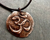Om symbol copper pendant handmade yoga necklace vegan cotton or leather cord spiritual symbol divinity intention