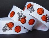 "10Yd Sporty Basketball  7/8"" White Grosgrain Ribbon"