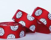 "10Yd Silver Glitter Volleyball 7/8"" Red Grosgrain Ribbon"