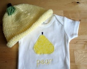 Custom Listing for Janet - PEAR Hat and Onesie / Bodysuit Gift Set - Baby Girl or Boy, Long Sleeve, Two Piece, 9 months