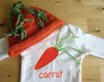 CARROT Hat and Onesie / Bodysuit Gift Set - Baby Girl or Boy, Long Sleeve, Two Piece  - Available in NB, 3, 6, 9, 12, 18 and 24 months