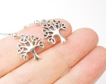 Celtic Tree of Life Earrings in Sterling Silver, Irish Jewelry, Tree of Life Jewelry,