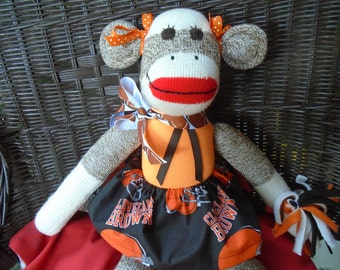 Cleveland Browns Cheerleader Sock Monkey Doll