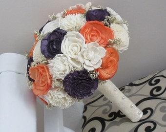 Wedding Bouquet, Sola wood Bouquet, Sola plum purple, orange, Bouquet, Alternative Bouquet, Sola flowers, Wood Boquet
