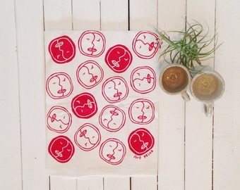 "Flour Sack Towels -  Screen Print Tea Towel - Kitchen Towels  - Tea Towel Flour Sack - Hawaiian illustration - ""Honi (Kiss)"" -  face pattern"