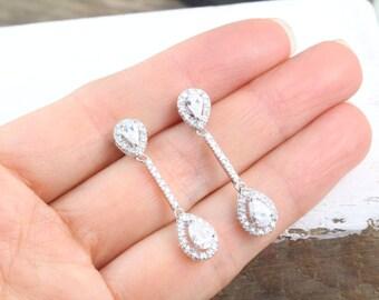 Silver Earrings, CZ Earrings, Wedding earrings, Fancy Earrings on Sterling Silver and cubic Zirconia, long Earrings, Dangle Earrings