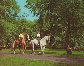 Riding at French Lick - Vintage 1940s Indiana Resort Equestrians Souvenir View Postcard