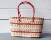 Vintage hand made withe woven natural market beach tote bag home decor basket