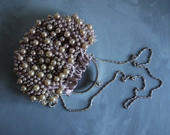 Vintage small faux pearl fully beaded satin pouch metal frame evening shoulder hand bag