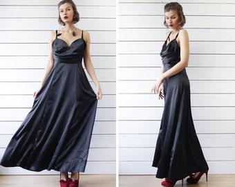 RANDIGARUTAN vintage black low open back long evening maxi dress M L