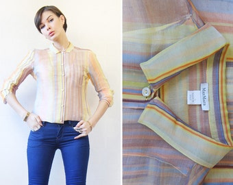 MaxMara luxury vintage sheer striped pastel yellow blue silk shirt blouse Size 42 US 8