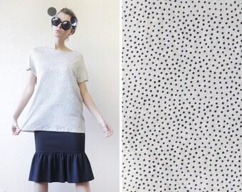 MARIMEKKO black white tiny polka dot circle cotton keyhole back blouse top L