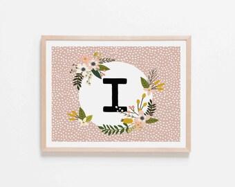 Blush Monogram I Nursery Art. Nursery Wall Art. Nursery Prints. Blush Wall Art. Personalized Wall Art. Monogram Art. Floral Art.