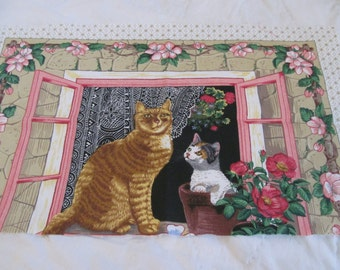"""Kitty cats in thw window.  This is a remnant of left over fabric.  Really cute.  36"""" wide and 10 1/2 inches high"""