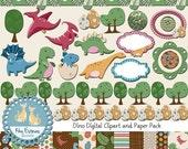 70% Sale Dinosaur Digital Bundle - Digital Clip art, Scrapbook Paper  - card making, invitations, photograph, design - INSTANT DOWNLOAD