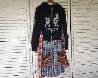 Stray Dog Hoodie Coat S, Upcycled Clothing, Upcycled Hoodie, Recycled Flannel Shirts