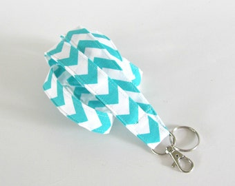 Turquoise Chevron Lanyard ID Badge Holder, Key Lanyard, Fabric Lanyard Teacher Gift, Nurse Lanyard