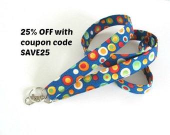Key Lanyard Fabric Id Badge Holder Royal Blue Multicolor Dots Keychain Teacher Gift Lanyards