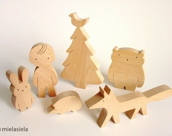 Wooden toy - Girl/Boy, Animals and Christmas tree - Woodland animals - Eco friendly wooden toy - Toys for toddlers