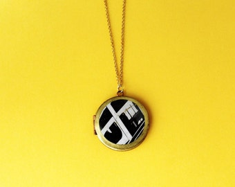 Modern Locket Necklace.              Black and White Geometric Photo Locket.    Minimal Modern Jewelry with a Charitable Donation